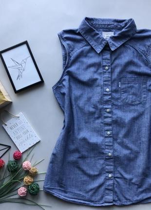 Оригинальная джинсовая рубашка без рукавов   / удлинённая рубашка без рукавов levis