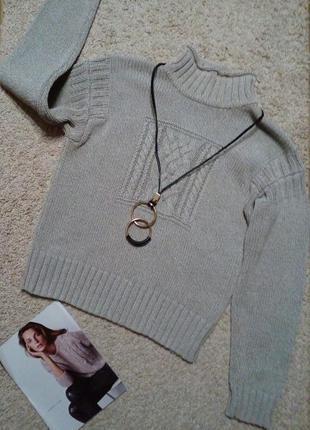 Racing green стильный котоновый свитер под горло, рельефной вязки l-xl