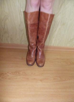 Высокие/кожаные/добротные сапоги /мегабренд/26,5 см