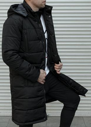 Крутая мужская зимняя куртка-пальто с отстёгивающимся капюшоном чёрная