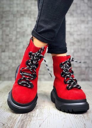 Рр 36-40 зима натуральный замш люксовые высокие красные ботинки кроссовки на платформе