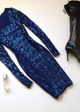 Синее платье в пайетки cubus