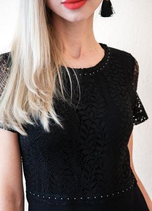 Эффектное черное платье с гипюром премиум бренда eva kayan 38 р m