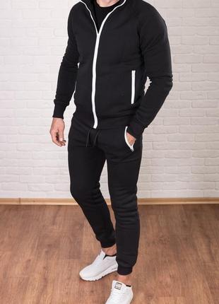Осень зима утепленный мужской спортивный костюм чёрный с белыми полосками