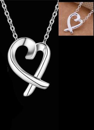 Подвеска на цепи - кулон сердце в серебре 925, новая! арт.2211