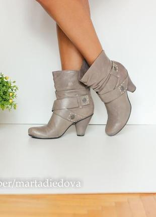 Кожаные ботинки полусапожки, натуральная кожа, бренд janet d