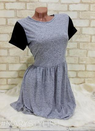 Красивое нежное платье в модную катышку с черными рукавами