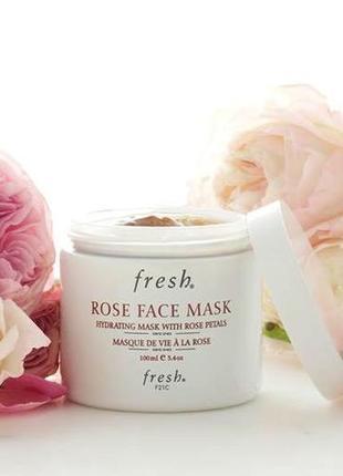 Увлажняющая гелевая маска на лепестках роз fresh rose face mask