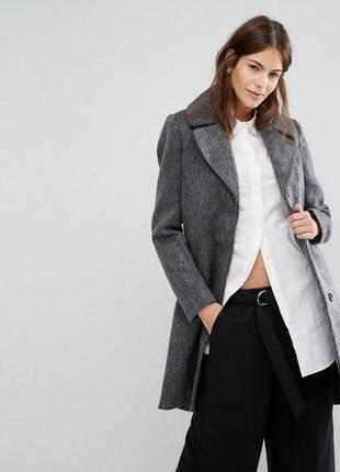 Серое теплое бойфренд пальто , прямой крой