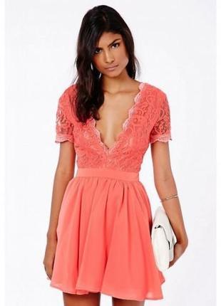 Missguided coral lace pink dress нарядное выпускное вечернее платье гипюр фатин шифон