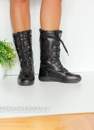 Зимние кожаные сапоги ботинки с утеплителем, натуральная кожа, бренд roots