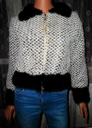 Женский,зимний,пушистый,серебристо-черный свитер,кофта-куртка-травка bent&collection