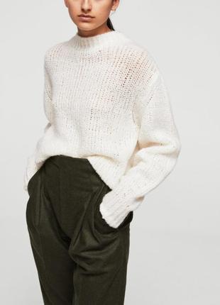 Белый свитер mango, размер s, шерсть, альпака