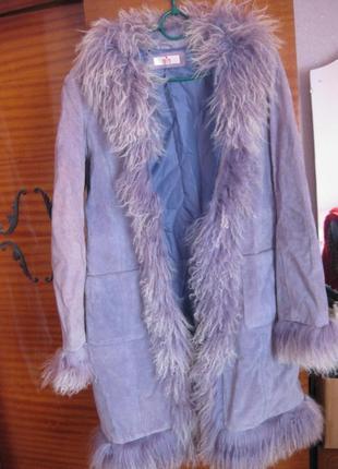 Сиреневый демисезонный плащ-пальто new look