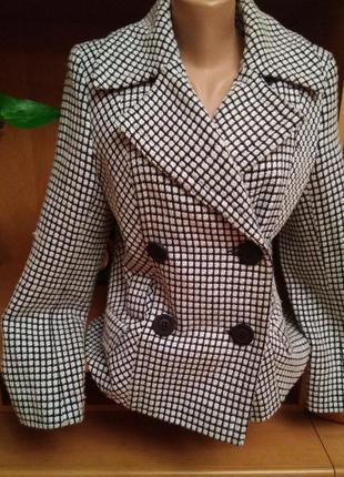 Тёплое брендовое пальто пиджак двубортное, размер 12-14