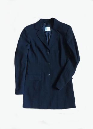 Подовжений піджак / удлиненный темно синий пиджак  жакет
