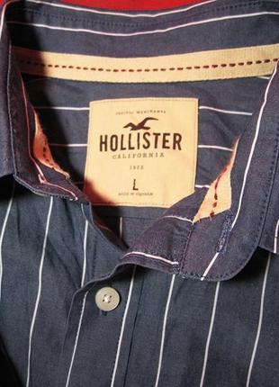 50р. hollister california (оригинал) вьетнам стильная рубашка в полоску обхват груди 118