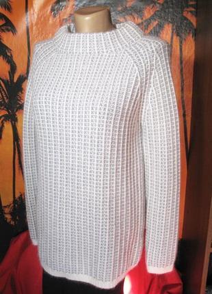 Шикарный шерстяной буклированый длинный свитер от autograph