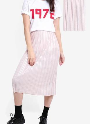 Topshop нарядная пудровая перламутровая  юбка плиссированная xs - размер 6 .