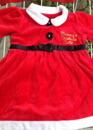 Новогодние платье на девочку 6-9 месяцев 62-75см. состояние отличное.