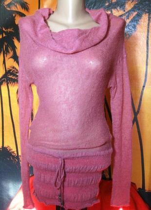 Супер модный итальянский свитер-туника паутинка2
