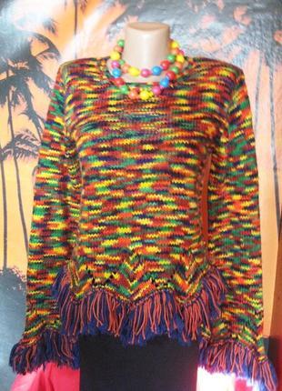 Яркий итальянский шерстяной свитер меланж с бахромой s-m3
