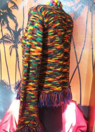 Яркий итальянский шерстяной свитер меланж с бахромой s-m5