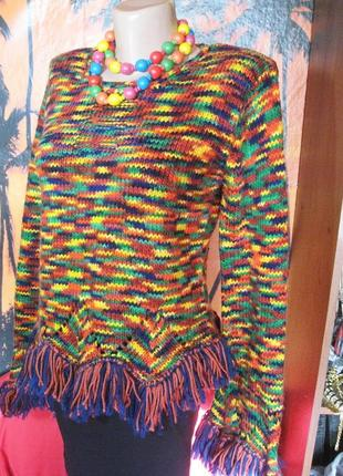 Яркий итальянский шерстяной свитер меланж с бахромой s-m