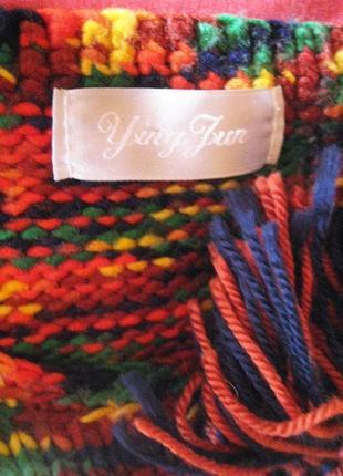 Яркий итальянский шерстяной свитер меланж с бахромой s-m4