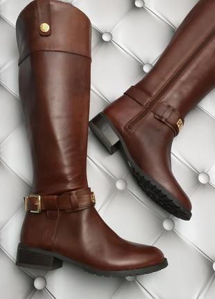 Inc international concepts коричневые кожаные сапоги на низком каблуке бренд из сша