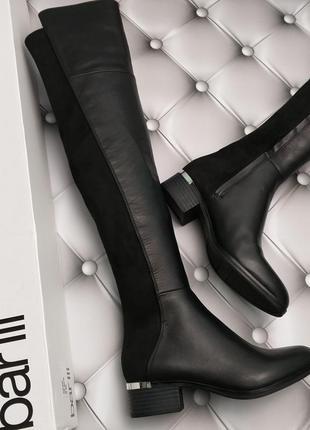 Bar iii оригинал черные кожаные сапоги ботфорты бренд из сша