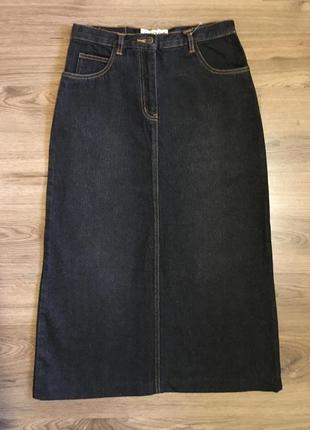 Чёрная джинсовая юбка трапеция!!