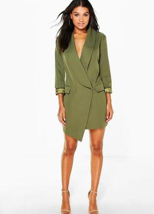 Шикарное платье блейзер пиджак хаки на запах oeuvre boohoo