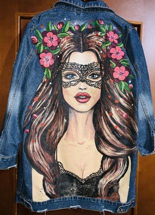 Джинсовая модная курточка с ручной росписью 46-50 размер