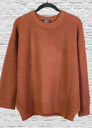 Нюдовый свитер оверсайз, теплый пуловер
