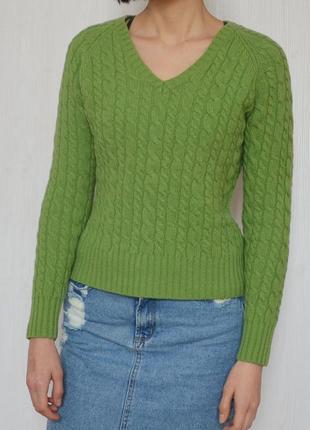 Зелёный шерстяной теплый свитер с косами gap