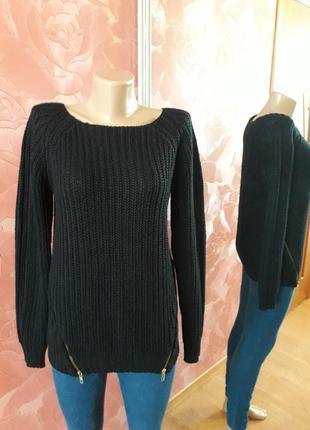 Длинный вязаный свитер кофта теплая крупная вязка