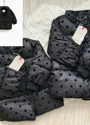 Стьобана куртка в горошок 80-104 см zara! є розміри, оригінал, з німеччини!