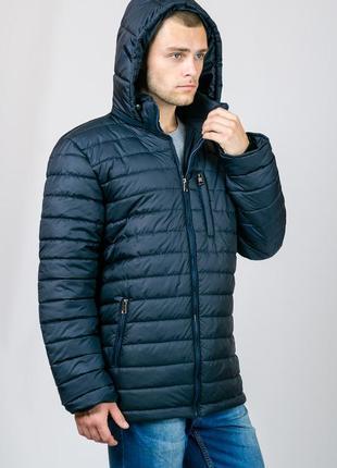 Зимняя мужская куртка с капюшоном (темно-синяя). р-р 48-54