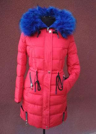Зимняя куртка-парка, красная с синим мехом