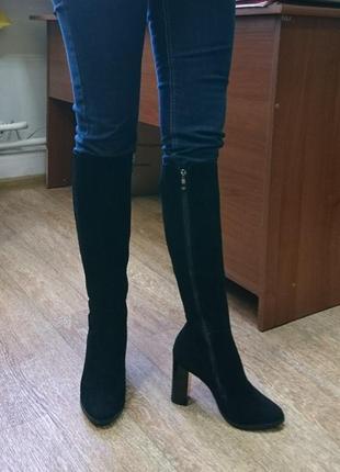 Зимние сапоги, стелька 23 см, натуральный замш, европейка
