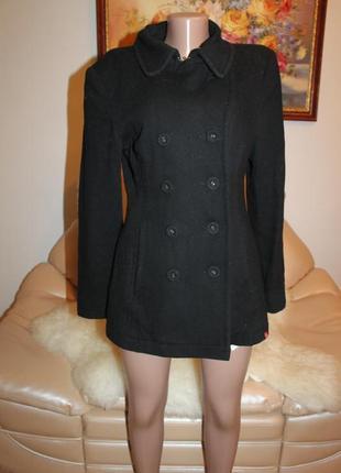 Esprit классическое черное теплое пальто базовое размер м