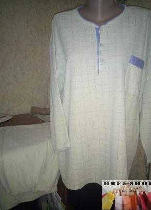 Домашний костюм,махровая с начёсом пижама, брюки и футболка с длинным рукавом,3xl