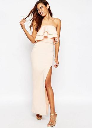 Платье-бандо макси с рюшами asos premium