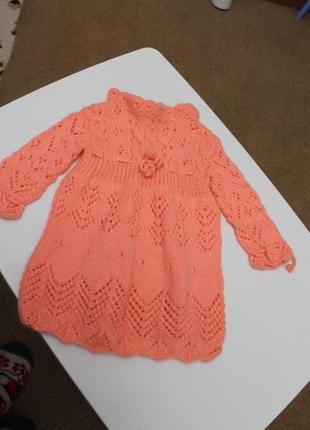 Платье шерстяное, ручной работы 1-2 года