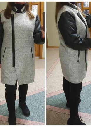 Теплое пальто на молнии с кожаными рукавами only