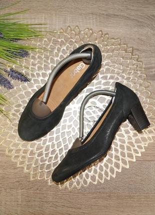 (38/24,5см) gabor! замша/кожа! фирменные красивые туфли на удобном каблуке