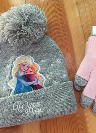 Зимний комплект шапка и варежки frozen h&m