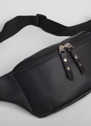 Чёрная женская бананка сумка на пояс с экокожи