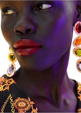 Серьги с разноцветными камнями zara